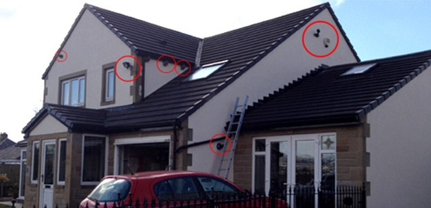 several cctv camera installed to a detached house