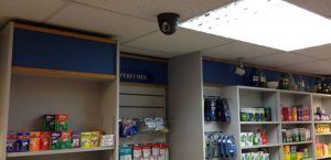 dome camera installed in a convenience store