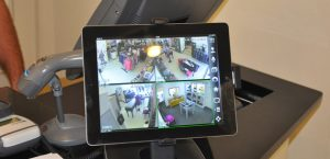 cctv viewed on a tablet